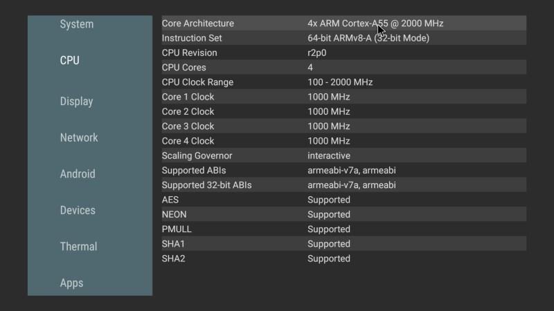 Mecool KM6 Classic CPU info