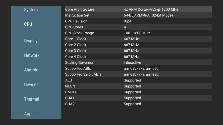 Mecool KD1 CPU info