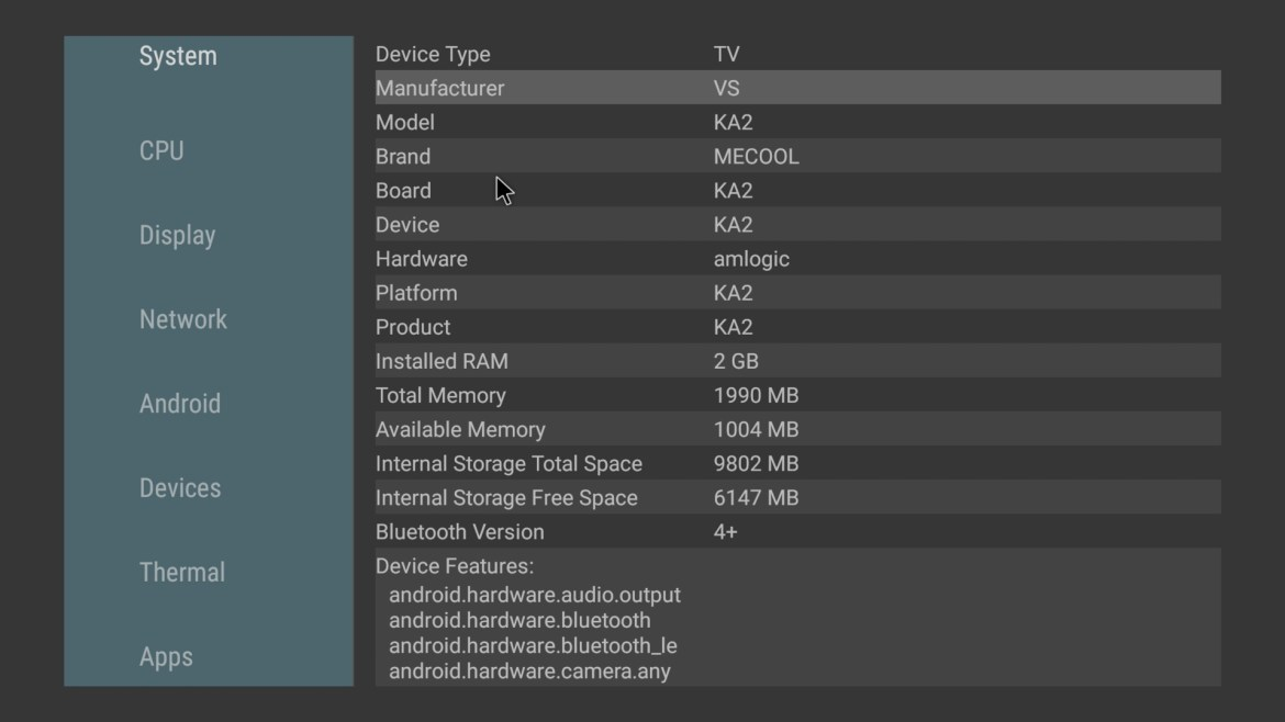 Mecool KA2 Now system information