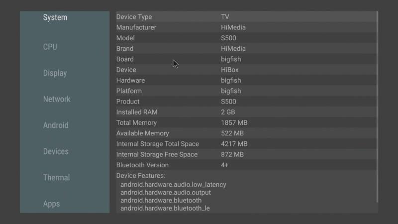 HiMEDIA S500 system info