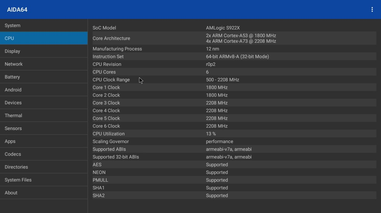 Ugoos AM6B Plus CPU info