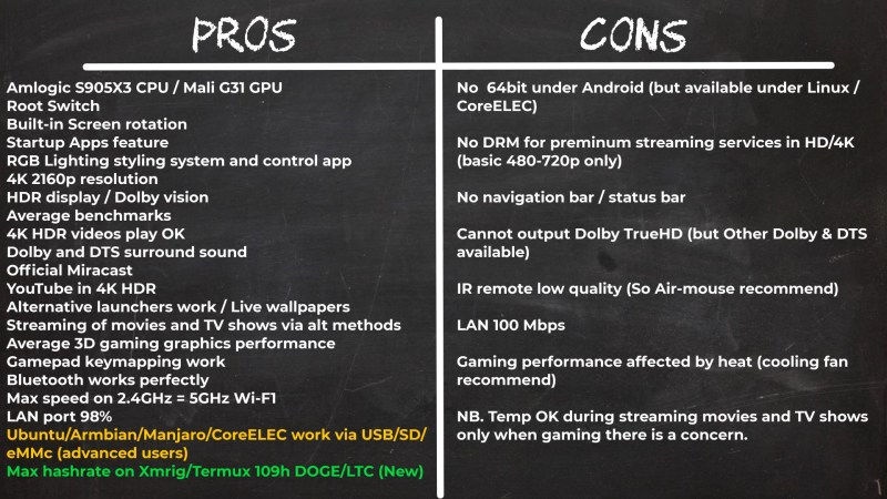 X3 Pro TV Box pros and cons