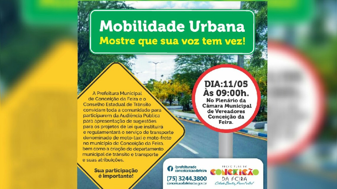 URGENTE: Audiência Pública será realizada nesta quinta-feira (11) na Câmara de Vereadores de Conceição da Feira