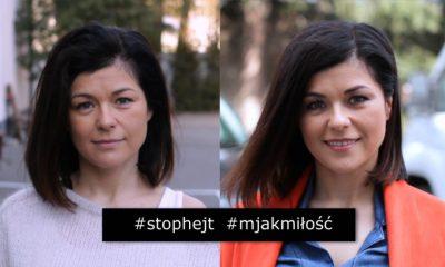 Kasia Cichopek w makijażu po lewej stronie. Po prawej stronie Kasia Cichopek w pełnym makijażu