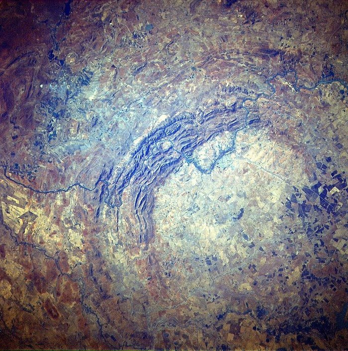 As seen from space, the Vredefort Dome. By Space Shuttle STS51l--33-56AA (Creative Commons)