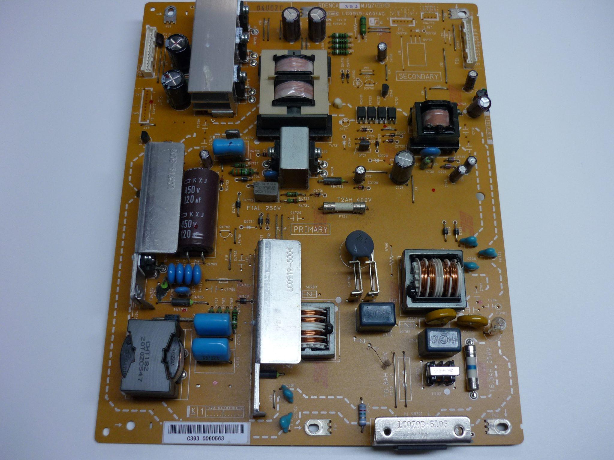 Sharp RDENCA393WJQZ (LC0919-4001AC) Power Supply Unit For LC-40D68UT