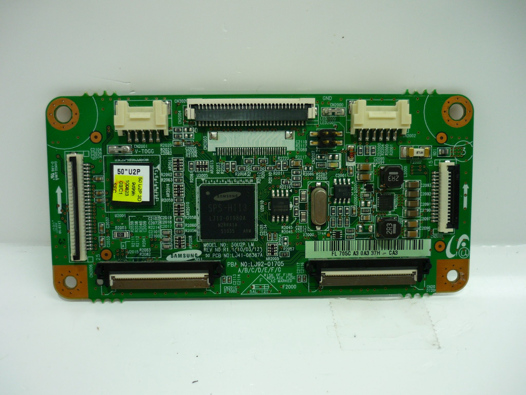 SKU: sj-LJ92-01705C Warranty: 180-Day Warranty Part Type: Main Logic CTRL Board, Control Board, Logic Main, CTRL Board Part Number: LJ92-01705C Part Usage: Plasma Panel Manufacturer: Samsung PCB Number: LJ41-08387A PBA Number: LJ92-01705C Notes, Comments & Additional Information: ShopJimmy recommends ordering by part number whenever possible. Often times there are TV models that use more than one set of parts and/or panels. Brands: Insignia, Samsung Important Message: Partial PBA number (705C) can be found on a sticker. TV Part Types: Logic Board TV Models: Insignia NS-50P650A11 Samsung PN50C430A1DXZA PN50C450B1DXZA