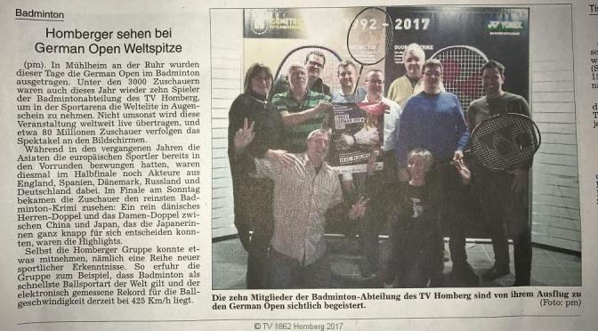 Badminton| Homberger sehen bei German Open Weltspitze (Alsfelder Allgemeine)