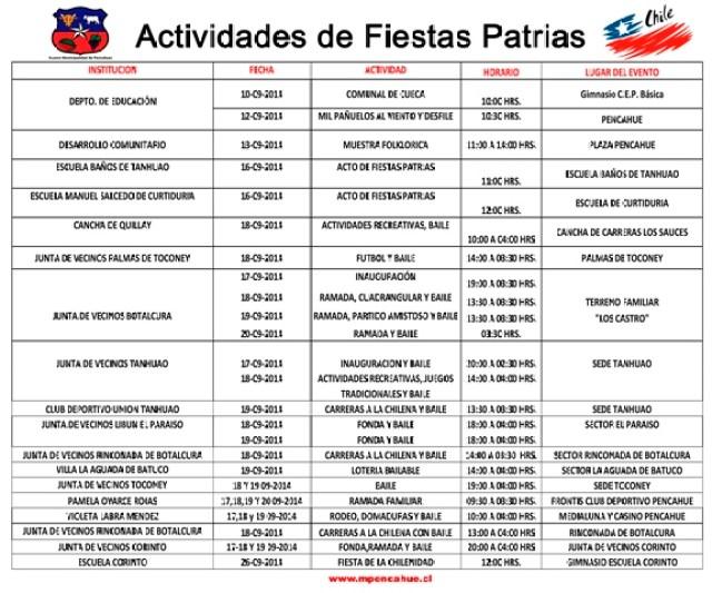 Programación Fiestas Patrias en Pencahue