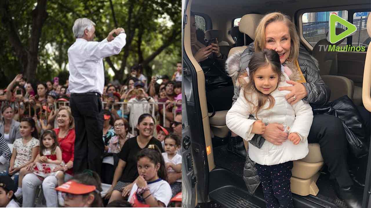 """La primera Dama, Cecilia Morel, volvió a compartir con su """"ahijada"""" en su  visita a Talca"""