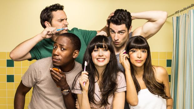 New Girl Fashion New Girl Cast with Cece Winston Schmidt Jess and Nick in the Bathroom