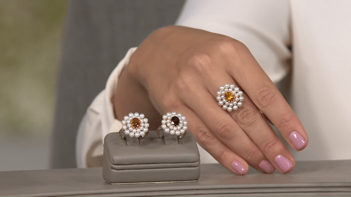 Honora Gemstone and Pearl Flower Ring, 14K Gold on QVC 4-13 screenshot