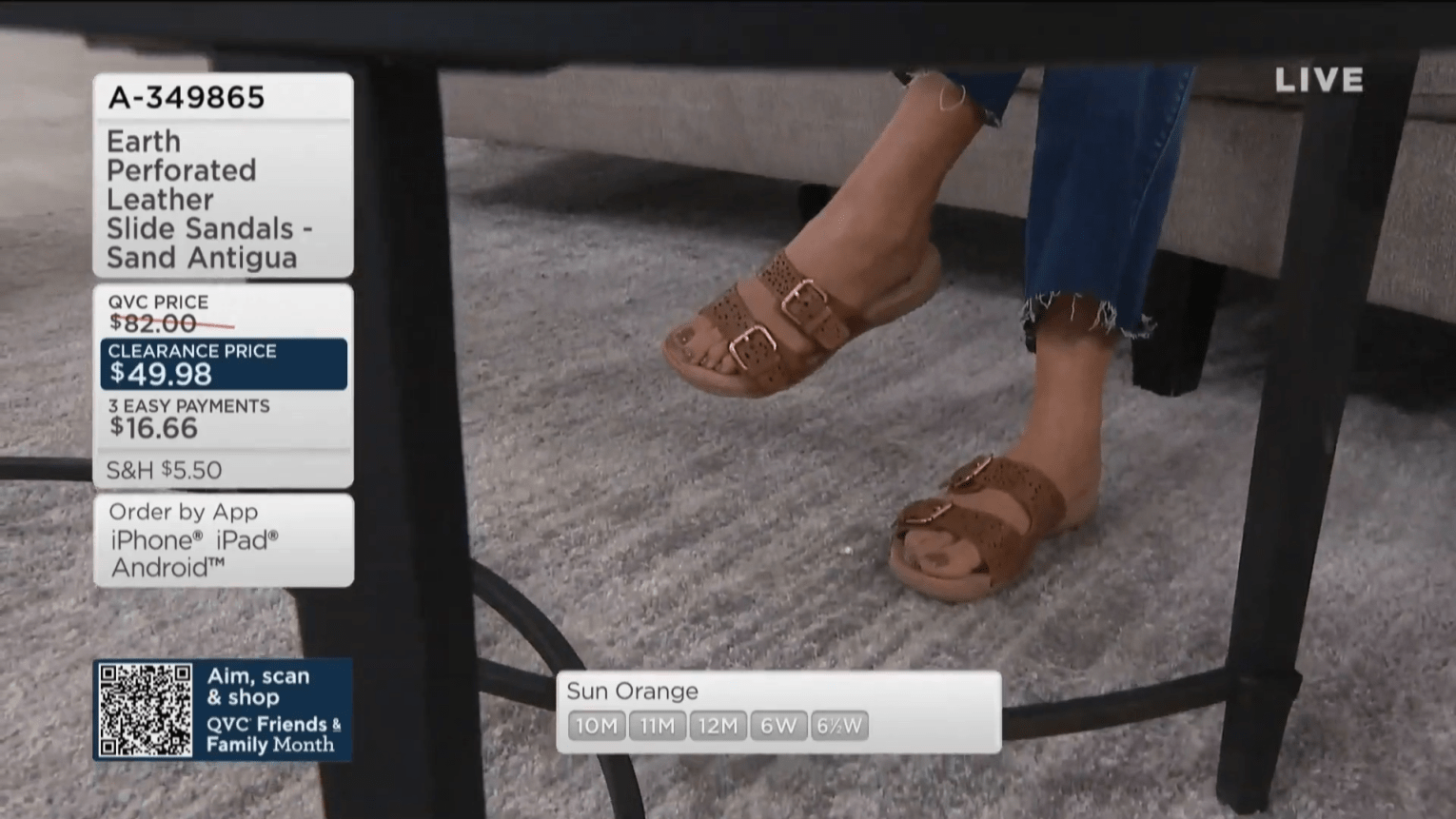 Close-up shot of QVC show host Courtney Khondabi's feet during an on-air presentation.