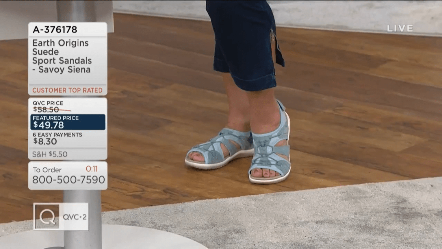 Feet of QVC show host Antonella Nester in Earth Origins sport sandals.