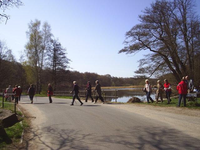 Stampen, Mølleådalen. Her er en gruppe kvinder og mænd på 60+på vej videre på en stavgang tur efter hvil på rasteplads ved inddæmmet sø foran mølle ved Stampen
