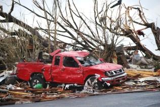 Pickup truck damaged in Joplin tornado