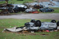 Cars and trucks thrown about by Joplin tornado