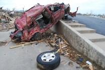 Unrecognizable vehicle destroyed in Joplin twister