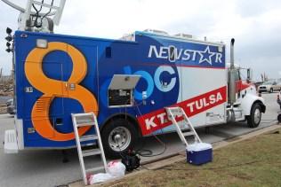 NewsChannel 8 Tulsa, OK satellite truck covering Joplin, MO tornado