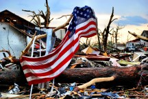 One of many flags flying above the rubble in Joplin