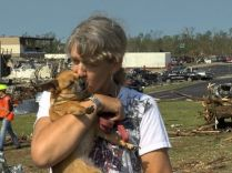 Candy Cartwright with her dog Waggles. Both are tornado survivors.