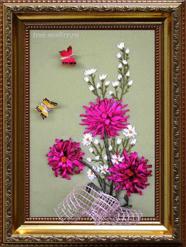 Цветы-из-лент-Как-сделать-цветы-из-лент-своими-руками-8