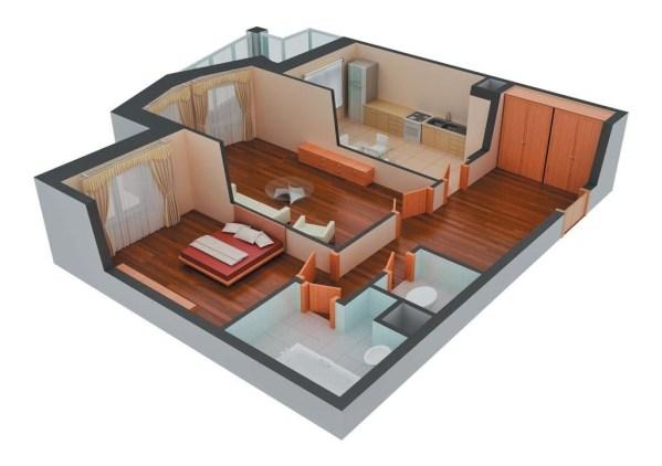 3д схема 2х комнатной квартиры