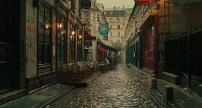 A rainy cobbled street in Paris - Midnight in Paris