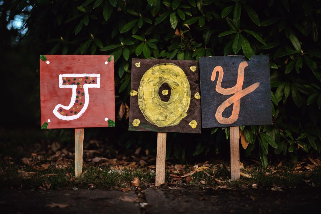 signs spelling joy