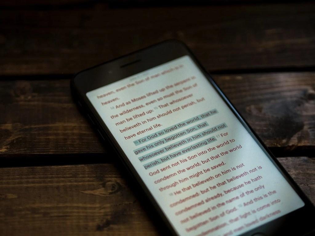 scripture on smartphone
