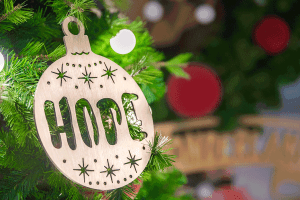 hope ornament on tree