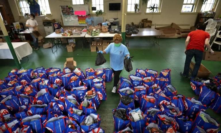volunteering at food bank