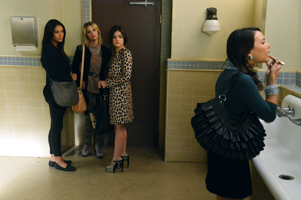 "PRETTY LITTLE LIARS - ""Will the Circle Be Unbroken?"" - With Spencer missing, Aria, Emily and Hanna search for clues to where their friend may be in ""Will the Circle Be Unbroken?,"" an all new episode of ABC Family's hit original series ""Pretty Little Liars,"" airing Tuesday, March 5th (8:00 - 9:00 PM ET/PT). (ABC FAMILY/ERIC MCCANDLESS) SHAY MITCHELL, ASHLEY BENSON, LUCY HALE, JANEL PARRISH"