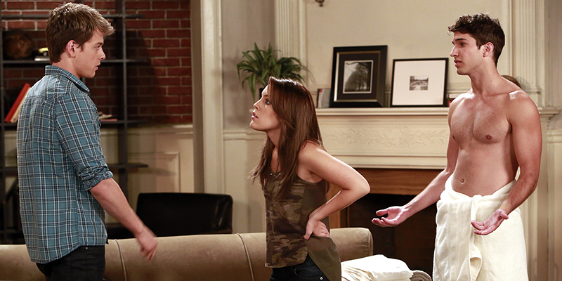 "Chad Duell (Michael), Kristen Alderson (Lauren Frank) and Bryan Craig (Morgan) in a scene that airs the week of May 27, 2013 on ABC's ""General Hospital.""  