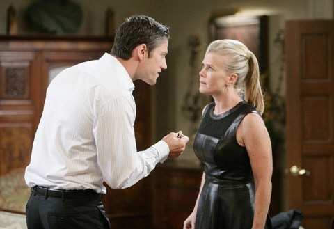 EJ (James Scott) and Sami (Alison Sweeney) clash over Kristen. Photo Credit: NBC