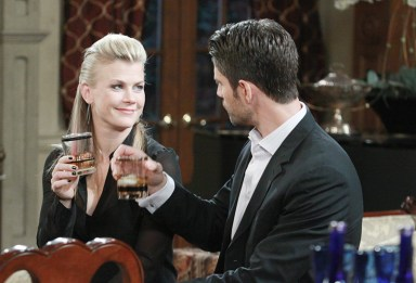 Sami (Alison Sweeney) and EJ (James Scott) toast to the future; Photo courtesy NBC Universal