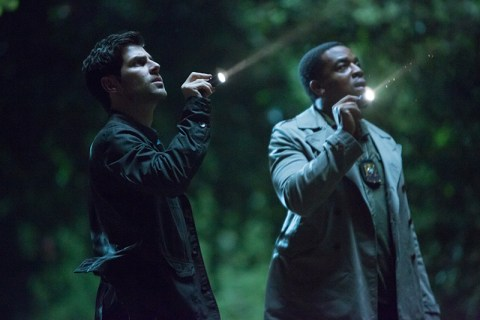 """GRIMM -- """"A Dish Best Served Cold"""" Episode 303 -- Pictured: (l-r) David Giuntoli as Nick Burkhardt, Russell Hornsby as Hank Griffin -- (Photo by: Scott Green/NBC)"""