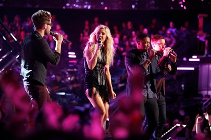 "THE VOICE -- ""Live Show"" Episode 516B -- Pictured: (l-r) Will Champlin, Ellie Goulding, Matthew Schuler, James Wolpert -- (Photo by: Trae Patton/NBC)"
