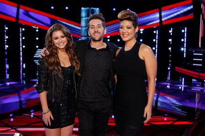 "THE VOICE -- ""Live Show"" Episode 518B -- Pictured: (l-r) Jacquie Lee, Will Champlin, Tessanne Chin -- (Photo by: Trae Patton/NBC)"