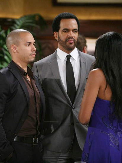 Devon is trying to respect Neil's relationship with Hilary. Little does Neil know that Devon is falling for her! Pictured: Bryton James, Kristoff St. John and Mishael Morgan.