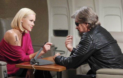 Patch (Stephen Nichols) questions Claudia (Anya Monzikova) during his search for Bo! Photo Credit: © Howard Wise/jpistudios.com