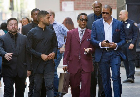 """EMPIRE: Pictured L-R: Jussie Smollett as Jamal Lyon, guest star Andre Royo as Thurston """"Thirsty"""" Rawlings and Terrence Howard as Lucious Lyon in the ÒFires Of HeavenÓ episode of EMPIRE airing Wednesday, Oct. 7 (9:00-10:00 PM ET/PT) on FOX. ©2015 Fox Broadcasting Co. Cr: Chuck Hodes/FOX."""