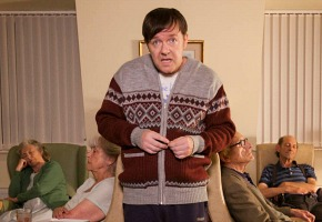Actor Ricky Gervais behind the scenes filming of series Derek  Sept 2012