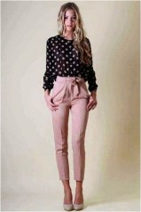 2 patterned blouse with pink pants casual office outfit source 101outfit.com