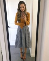4 patterned flared skirt with blouse casual office outfit source merricksart.com