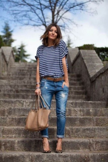 Casual outfit idea boyfriend jeans, stripe tee and heels