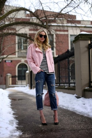 Pink biker jacket with casual outfit