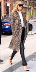 Rosie huntington whiteley in a leopard coat