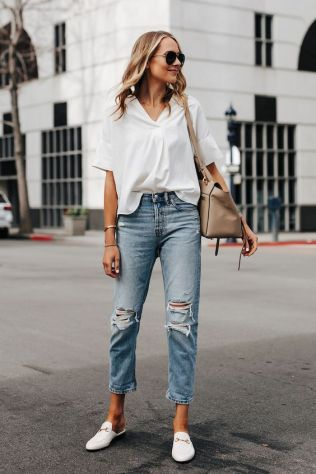 Short sleeve white shirt everlane ripped boyfriend jeans gucci princetown white mules