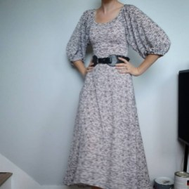 Statement sleeves florals fall dress